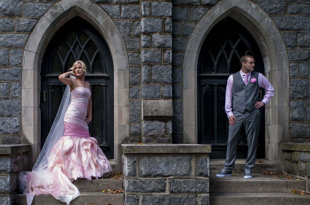 Bride and Groom in pink