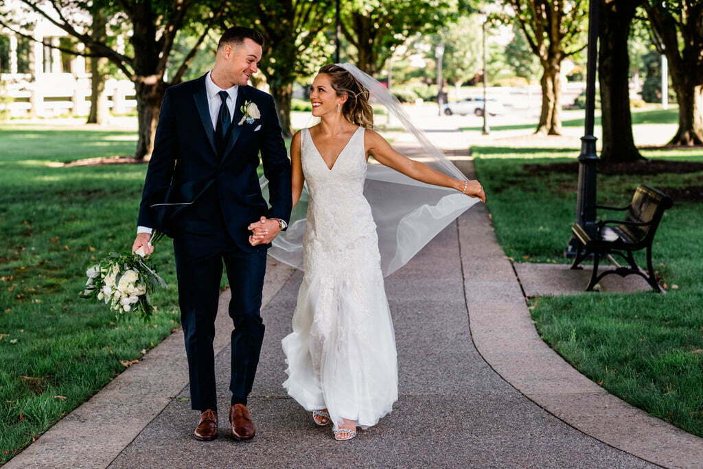 Bride and Groom at Bryn Athyn College